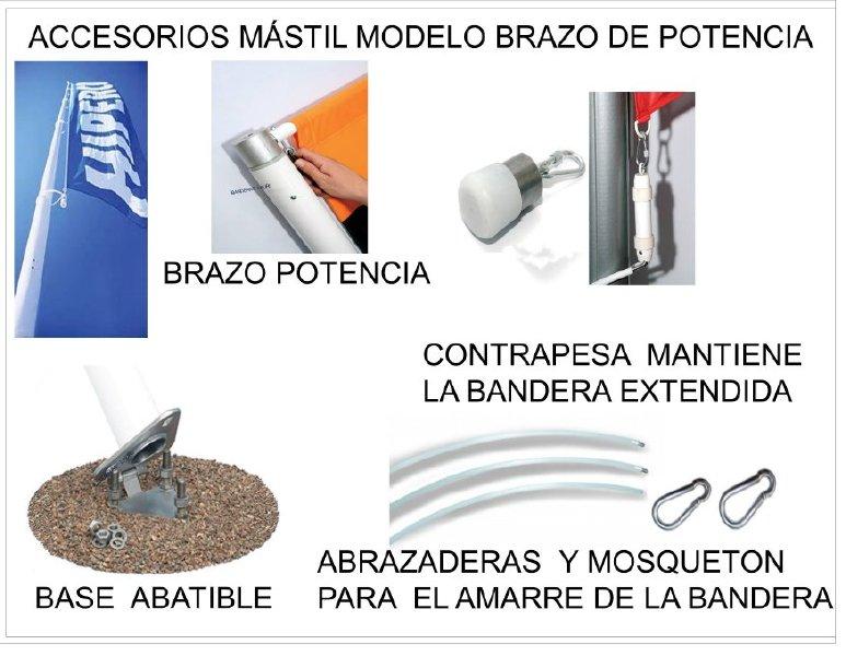 Accesorios para MÁSTIL de Exterior en Aluminio Modelo Brazo de Potencia Giratorio