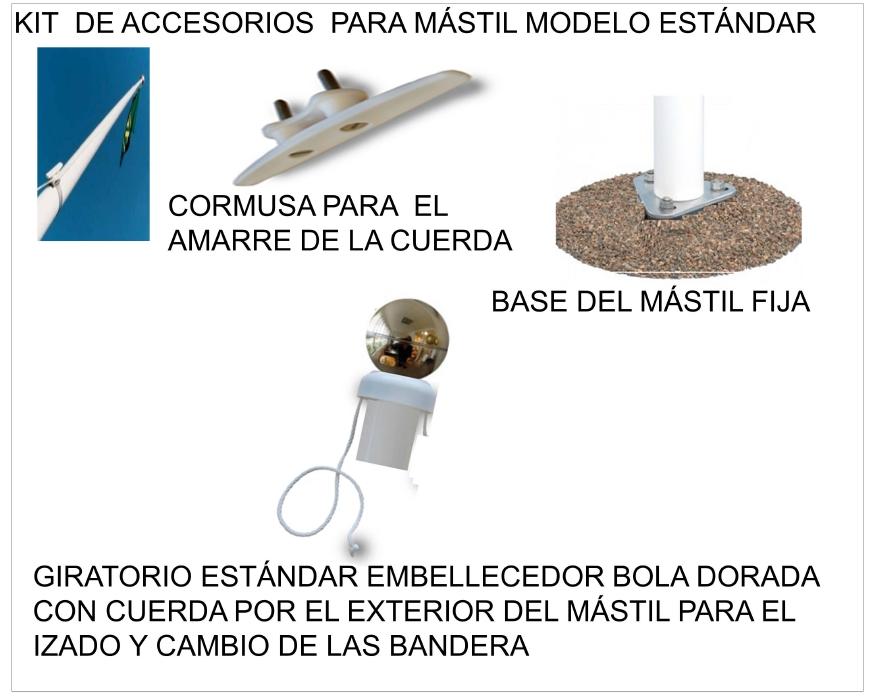 Accesorios de MÁSTILES de Exterior en Aluminio para la instalación en SUELO