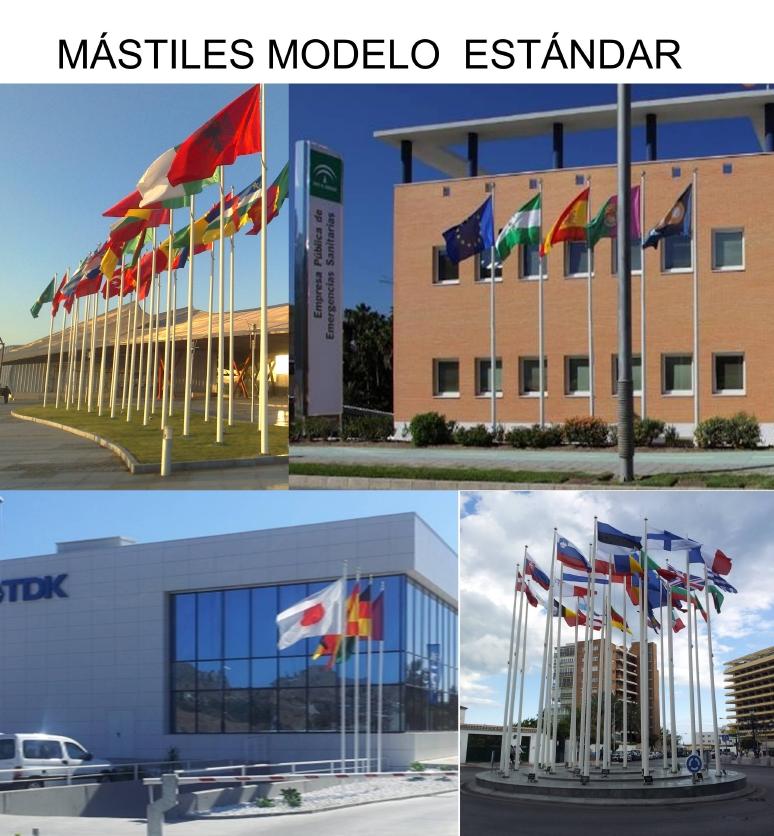 MÁSTILES de Banderas de SUELO Mástil de Exterior en Aluminio Modelo Estandar