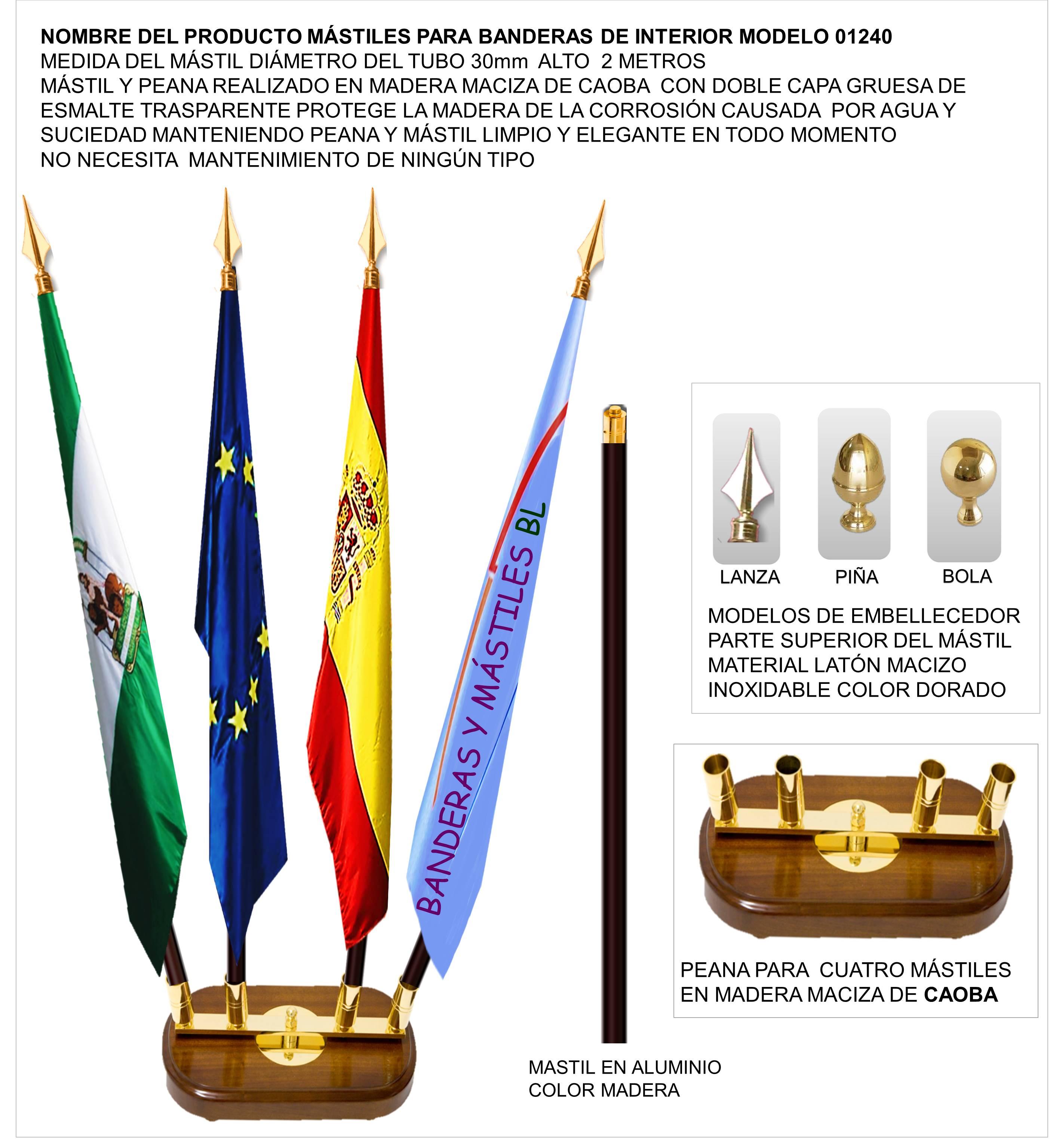 Mastiles de Madera para banderas de interior